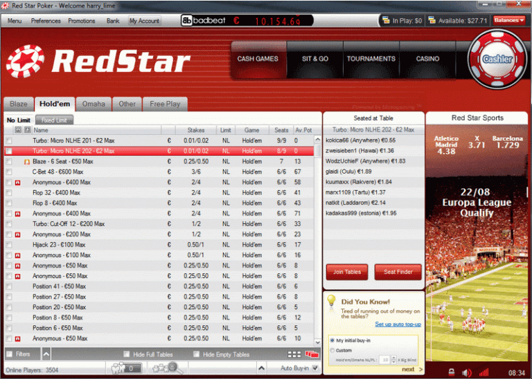 Red Star Poker Lobby