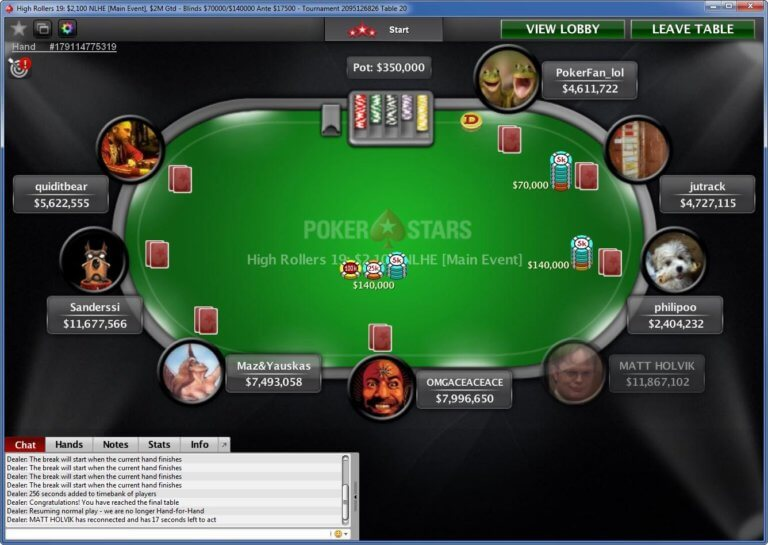 PokerStars High Rollers Final Table