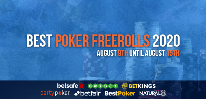 Best Poker Freerolls August 9th – August 15th 2020