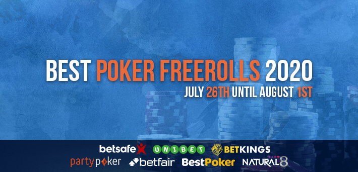 Best Poker Freerolls July 26th – August 1st 2020