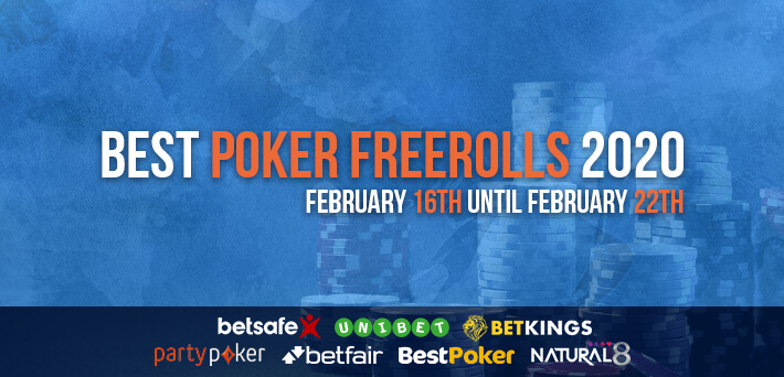 Best Poker Freerolls February 16th – February 22th 2020
