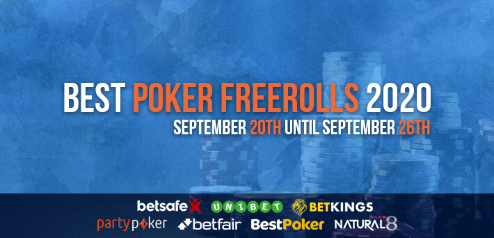 Best Poker Freerolls September 20th – September 26th 2020