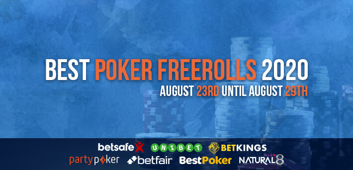 Best Poker Freerolls August 23rd – August 29th 2020