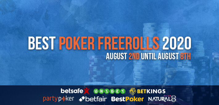 Best Poker Freerolls August 2nd – August 9th 2020
