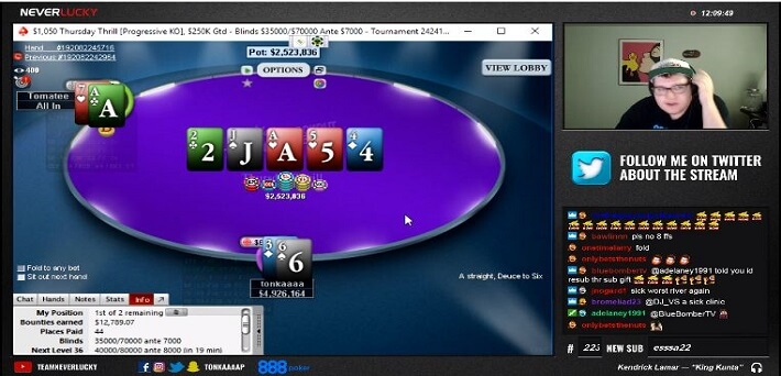 Watch Tonka win the $1,050 Thursday Thrill live on Twitch for $60,000