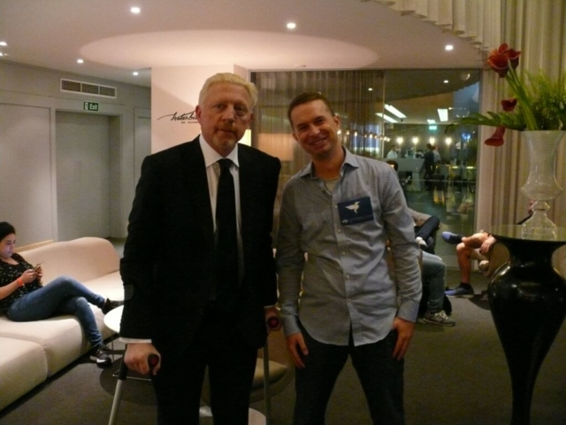 Boris Becker with Lars Liedtke at the 2018 Battle of Malta