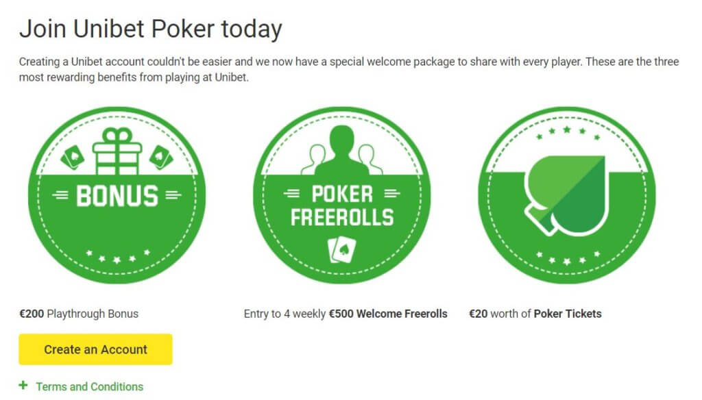 Unibet Poker Welcome Bonus Package