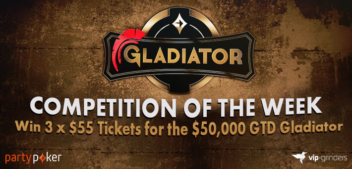 Like and Share this post on our Social Media to win a Ticket for the $50,000,00 GTD Gladiator at partypoker