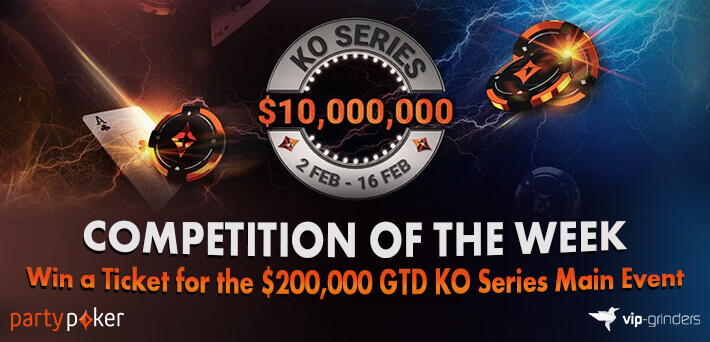 Like and Share this post on our Socials to win a $55 Ticket for the $200,000 GTD partypoker KO Series Main Event!
