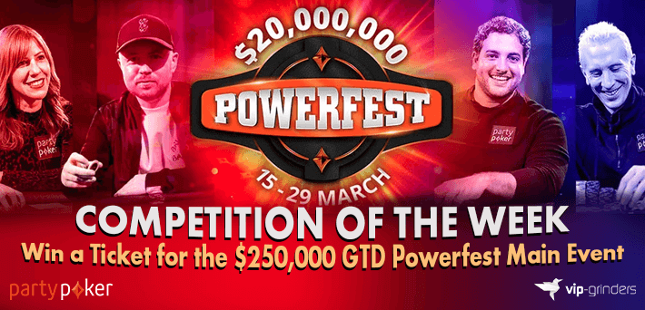 Like and Share this post on our Socials to win a Ticket for the $250,000 GTD partypoker Powerfest Main Event!
